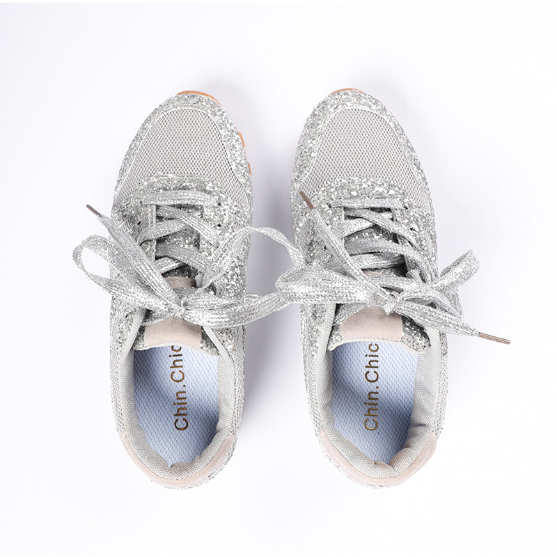 Chin.Chic 2020 Women Glitter Shoes Flat Ladies Sneakers Silver Casual Shoes Women Bling Platform Sneaker Breathable Vulcanized Shoes
