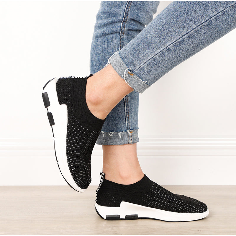 Chin.Sweety Women Casual Shoes Fashion Breathable Walking Mesh Lace Up Flat Shoes Sneakers Women 2020 Black