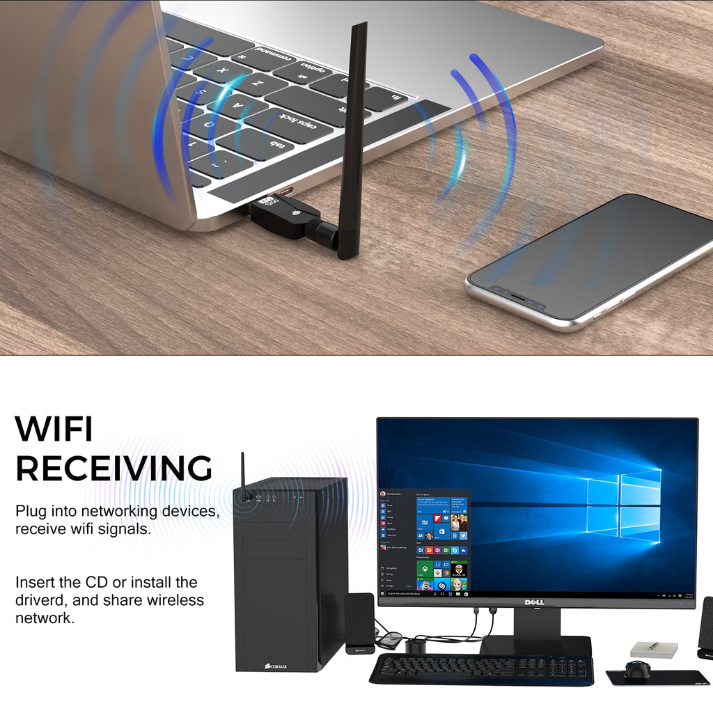 Tauracle WiFi Adapter for PC 1200Mbps,802.11ac USB Wireless Network Adapter with Dual Band 2.4GHz/5.8GHz 5dBi High Gain Antenna for Desktop Compatible with Windows 10/8.1/8/7/Vista/Mac OS