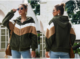 Hoodie Sweatshirt Top Women Striped Patchwork Jacket - Nikkiaz