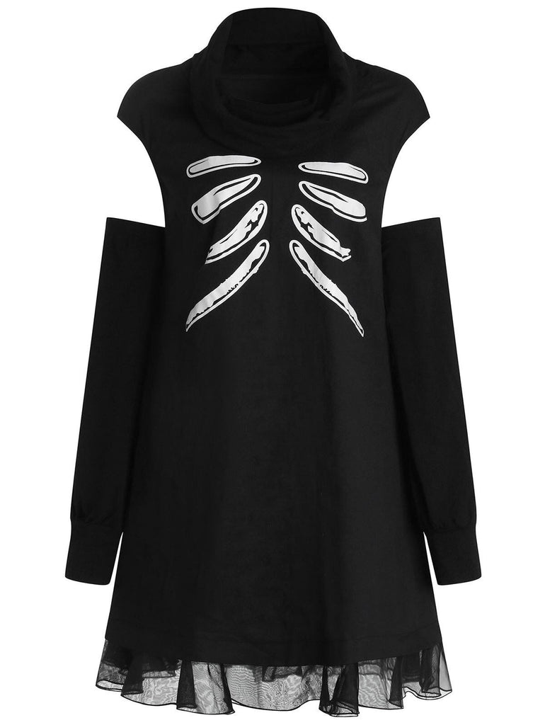 Plus Size Skull Open Shoulder Turtleneck Dress - Nikkiaz