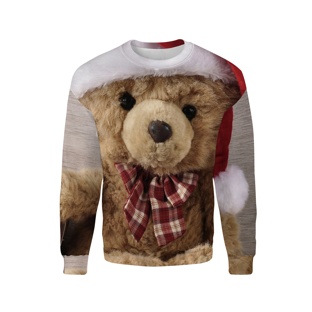 Funny Christmas Hat Puppy 3d Print Sweatshirts Men Women Pullovers - Nikkiaz