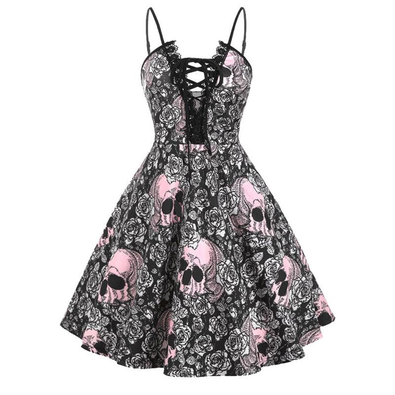 Skull A-line Halloween Dress - Nikkiaz
