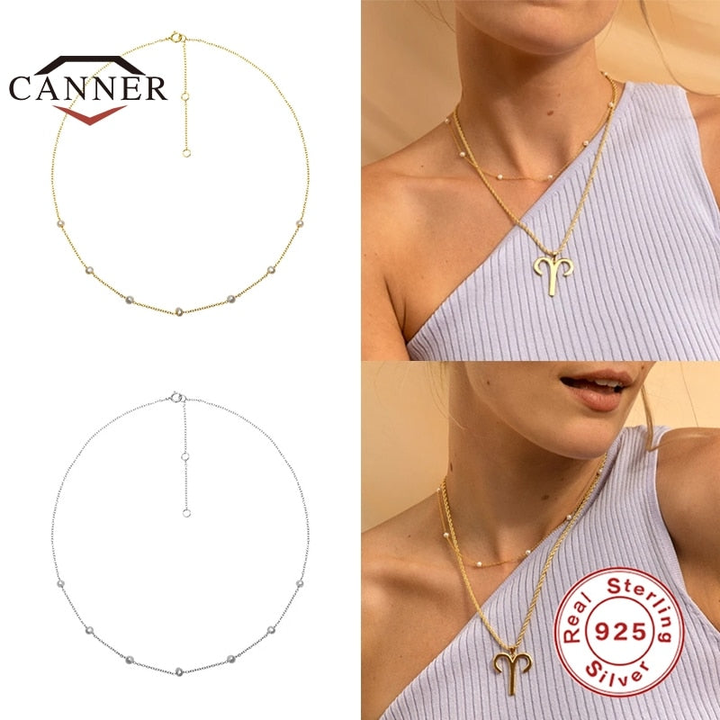 CANNER 2020 New 925 Sterling Silver Disc Necklace for Women INS Simple Chocker Clavicle Chain Necklace Fine Jewelry collares