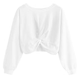 Women's Girls Round Collar Pure Color Tops Sweatshirts - Nikkiaz