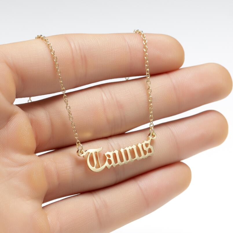 Personalize Jewelry Leo Zodiac Sign Astrology Necklace Star Sign 12 Constellation Old English Letter Aries Necklaces Gift
