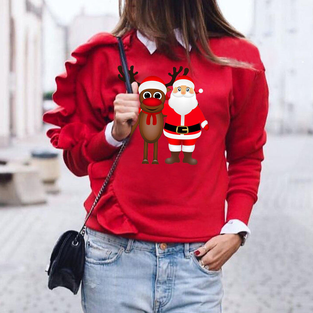 Christmas Sweatshirt Hoodies Women Xmas Deer Print - Nikkiaz