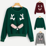 Christmas Xmas Hoodies Women Coat Tracksuit Round Neck Sweatshirts - Nikkiaz