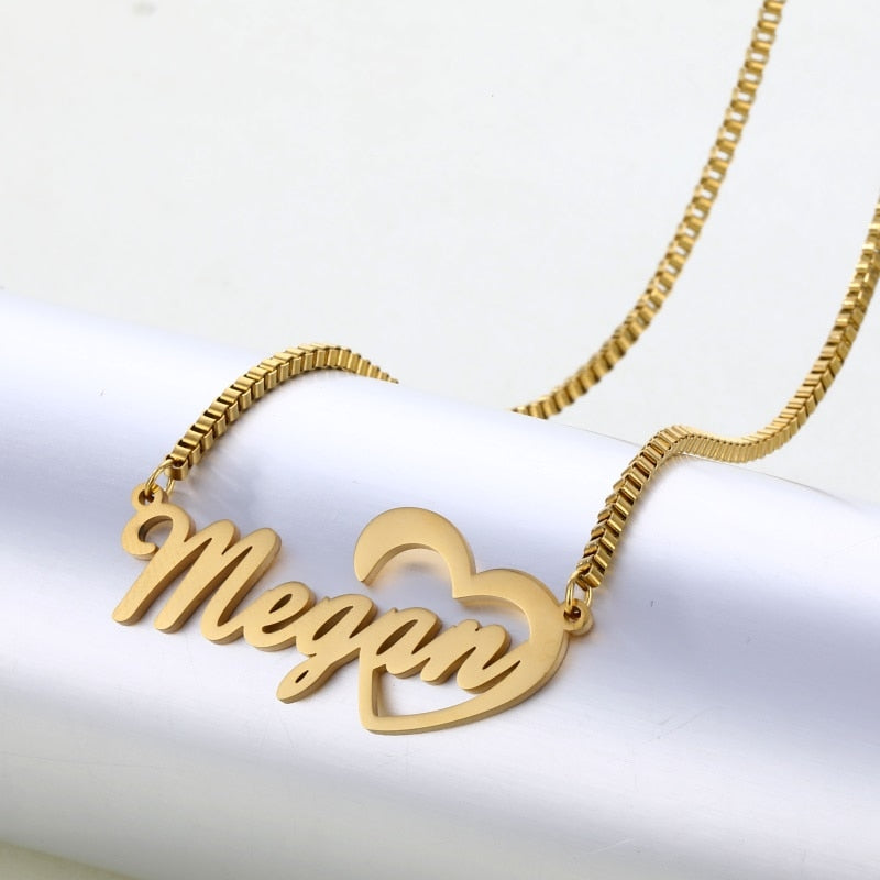 Personalized Name Stainless Steel Necklace, Custom Name Necklace Heart, Custom Jewelry, Custom Necklace, Necklace Women Gifts