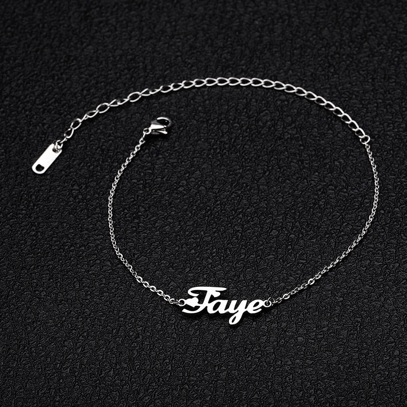 Personalized Custom Name Anklet For Women Gold Silver Color Stainless Steel Foot Chain Female Ankle Bracelet Fashion Leg Jewelry