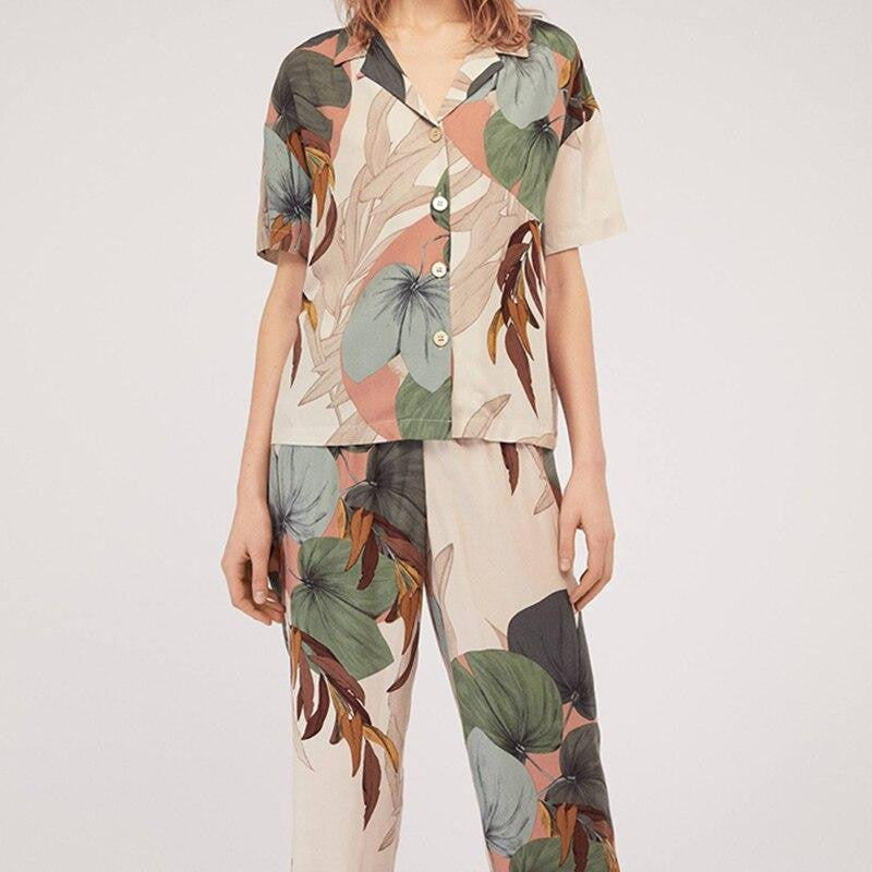Palm Leaf Print Loose Pajama Set - Nikkiaz