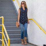 Sleeveless Floral Print Casual Blouse - Nikkiaz