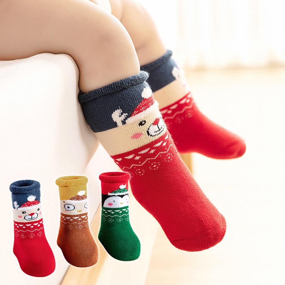 3Pairs/Set Children Thickened Long Tube Socks Cartoon Christmas Style Socks - Nikkiaz