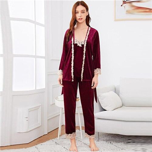 Contrast Lace Belted Pajama Set - Nikkiaz