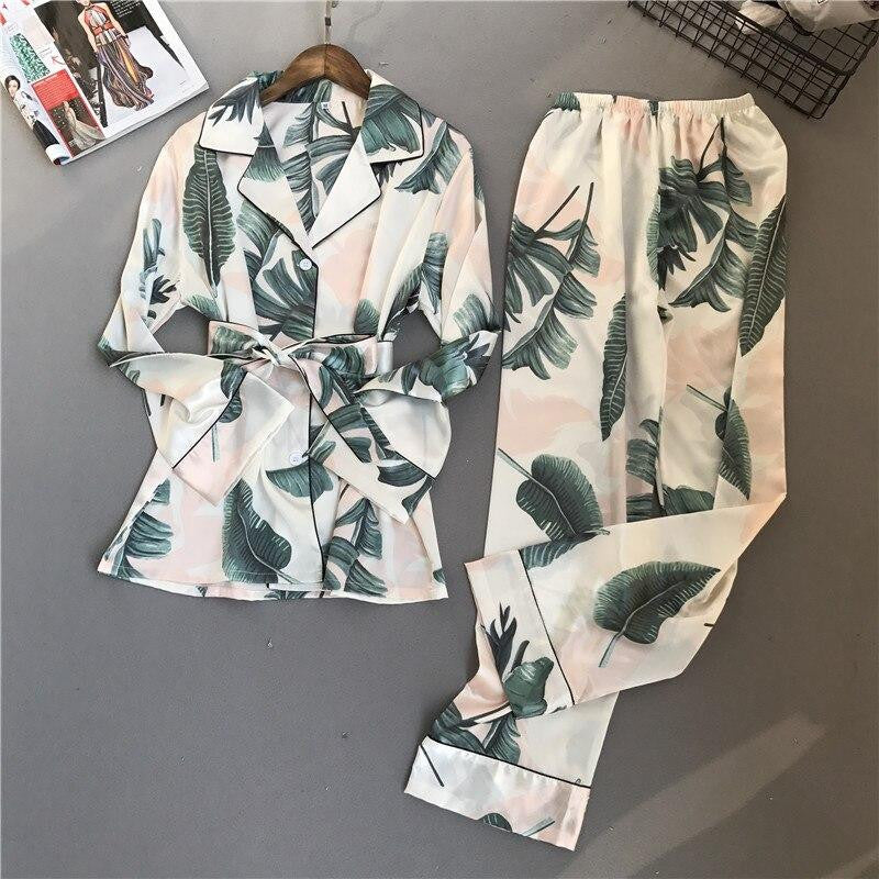 Rainforest Print Women Pajama Set - Nikkiaz