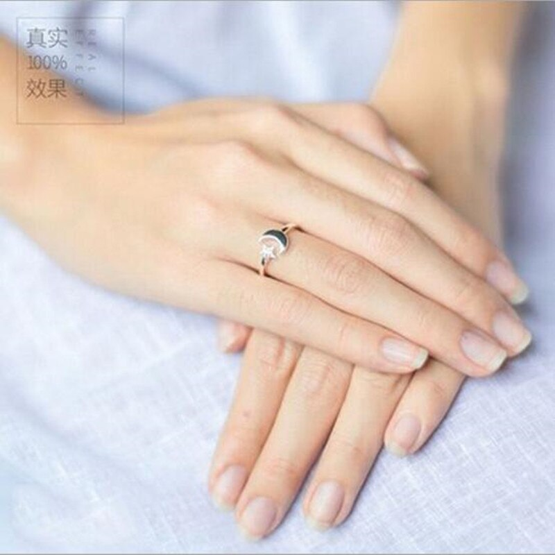 925 Sterling Silver Jewelry Korean Version Of The Simple Fashion Star And Moon Micro-inlaid Female Opening Ring  SR153