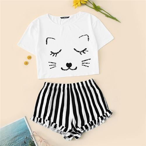 Cat Print Crop Pajama Set - Nikkiaz
