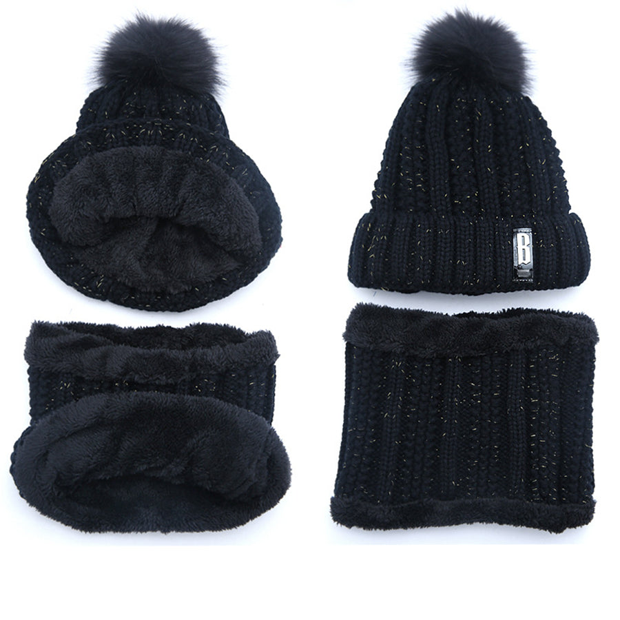 Winter knitted Beanies Hats Women Thick Warm Beanie Skullies Hat - Nikkiaz