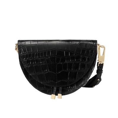 Women Crossbody Bag Fashion Crocodile Semicircle Saddle Bags PU Leather Shoulder Bags - Nikkiaz