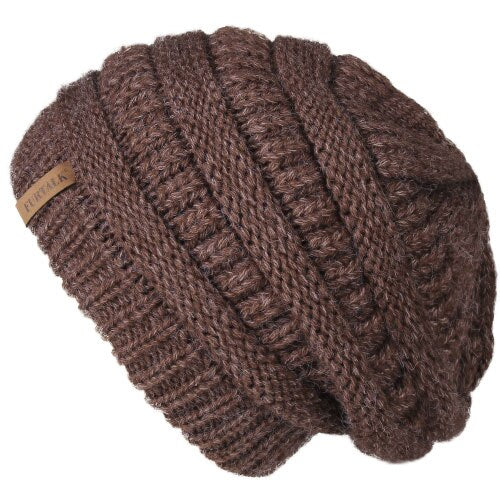 Slouchy Beanie Winter Hat for Women Knitted Warm Fleece Lining Hat - Nikkiaz