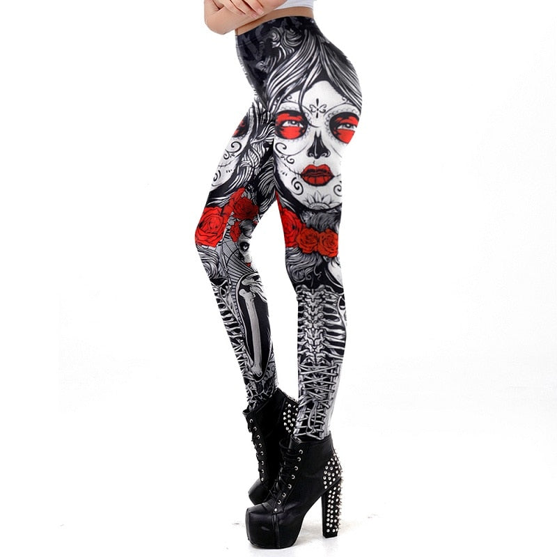 Sugar Skull Leggings Halloween - Nikkiaz