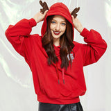 Women Christmas Printed Hoodies Sweatshirt With Pocket