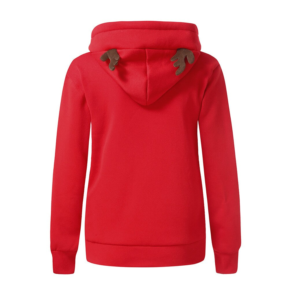 Women Christmas Printed Hoodies Sweatshirt With Pocket - Nikkiaz