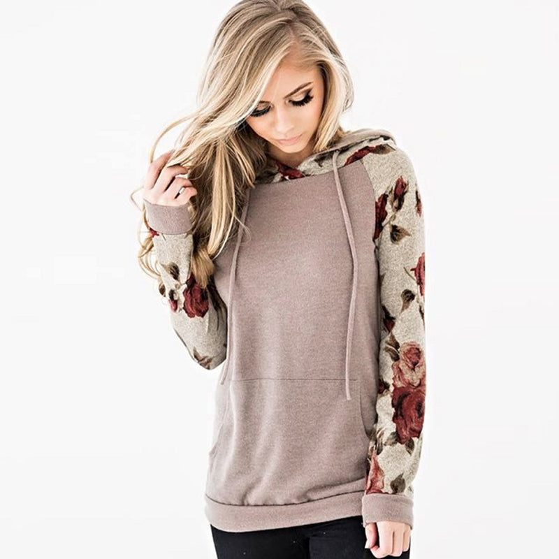 Floral Print Hoodies Sweatshirt Women Long Sleeve Hooded Drawstring Tops Jumper - Nikkiaz