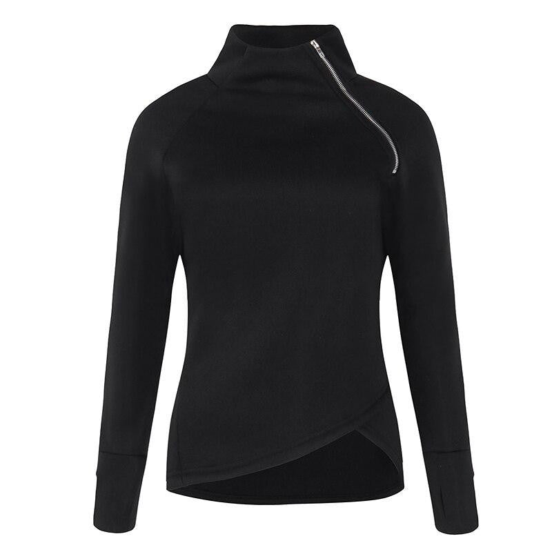 Casual Turtleneck Zippers Slim Sweathirt - Nikkiaz
