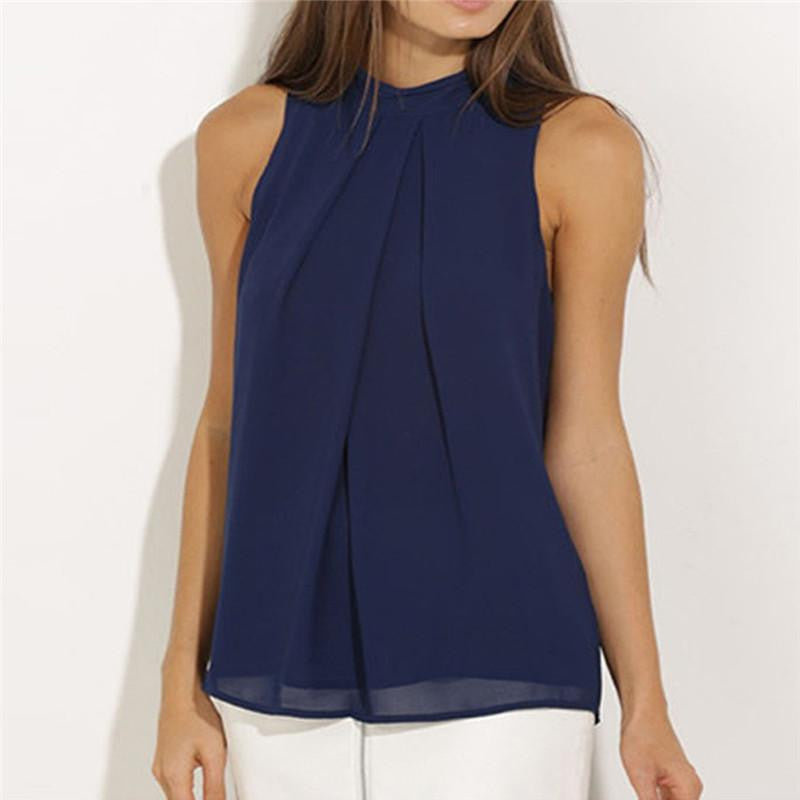 Chiffon Sleeveless Solid Color Blouses - Nikkiaz