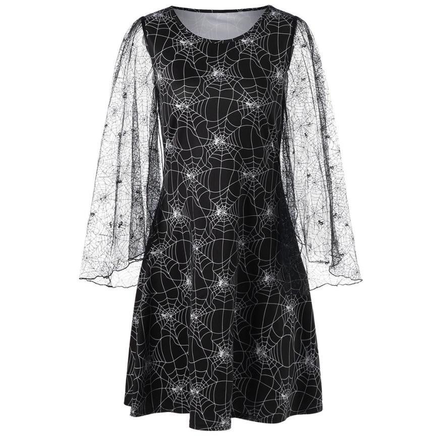 Loose Halloween Party Cobweb Dress - Nikkiaz