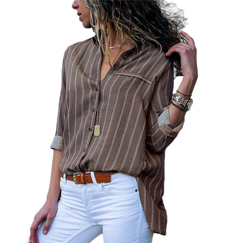 Striped Chiffon Long Sleeve Loose Top