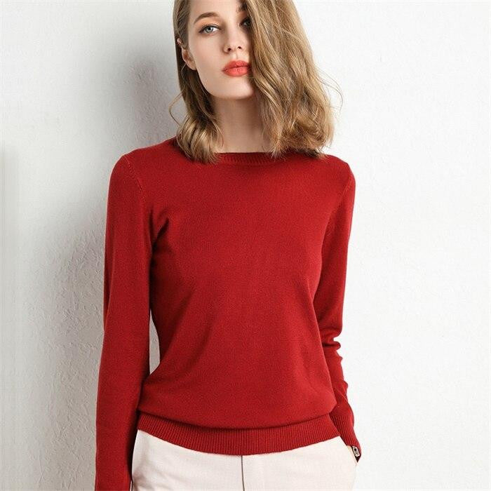 Women Knitted Pullover Sweater - Nikkiaz