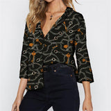Long Sleeve Chiffon Chain Print blouse - Nikkiaz