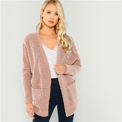 Open-Front Teddy Women Coat - Nikkiaz