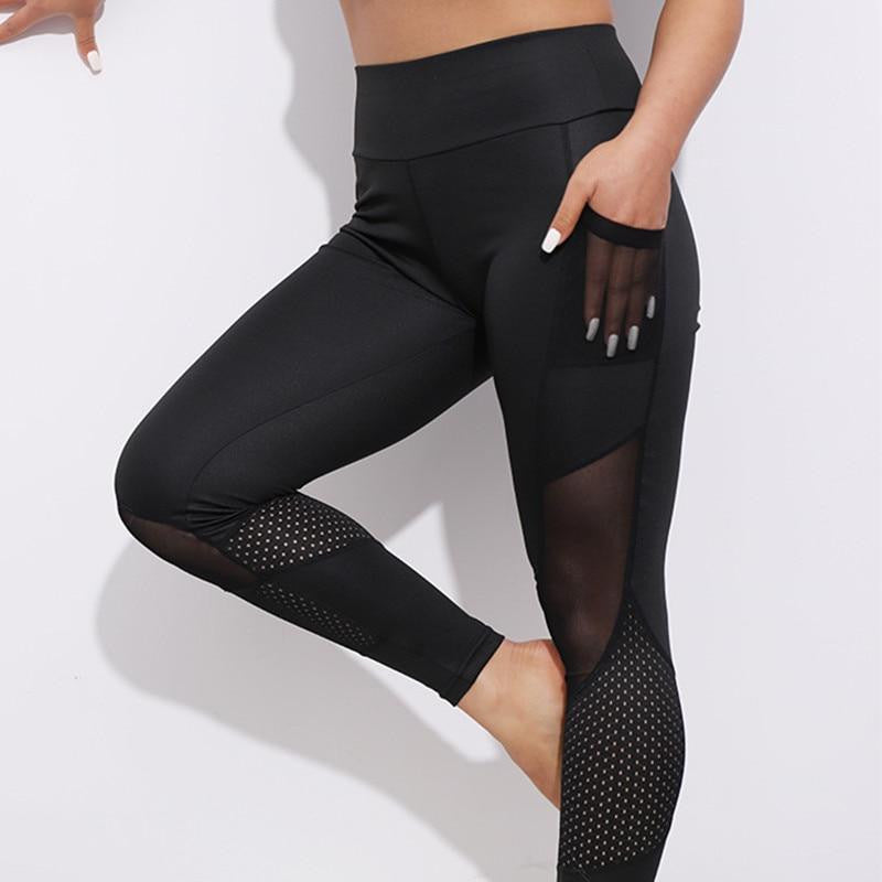 Mesh Workout Leggings with Pockets - Nikkiaz