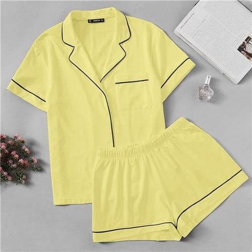 Short Sleeve Lapel Pajama Set - Nikkiaz