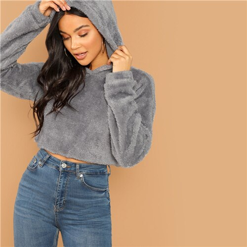 Minimalist Solid Drop Shoulder Crop Teddy Hoodie Sweatshirt - Nikkiaz