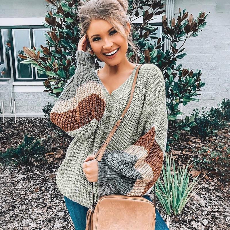 Striped V Neck Pullover Sweater Patchwork - Nikkiaz