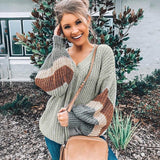 Striped V Neck Pullover Sweater Patchwork