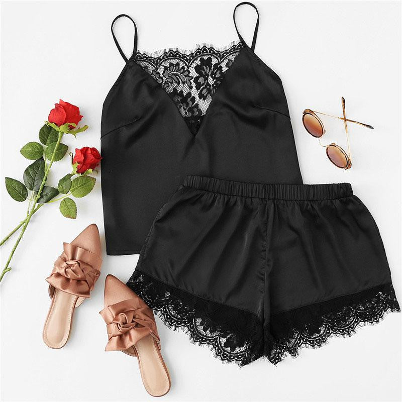 Lace Shorts Pajama Set - Nikkiaz