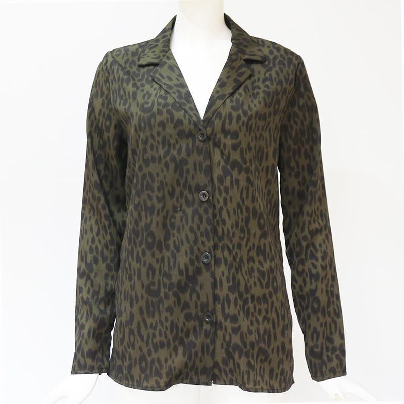 Chiffon Leopard Long Sleeve Women Top - Nikkiaz