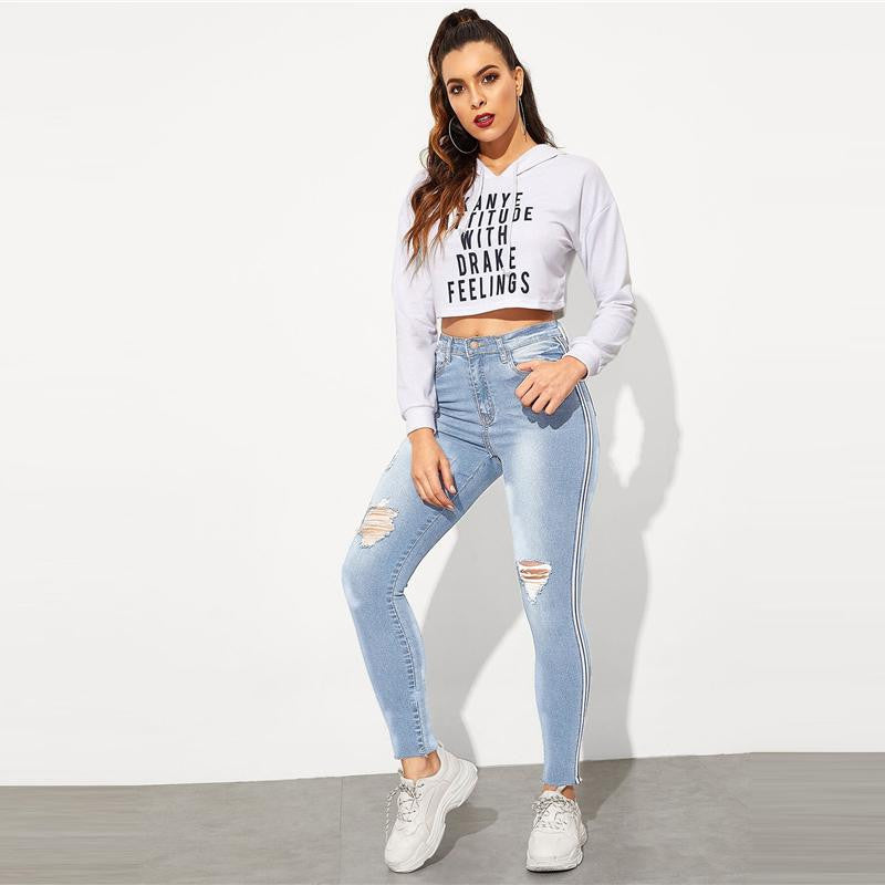 Stripe Side Ripped Stretchy Jean - Nikkiaz
