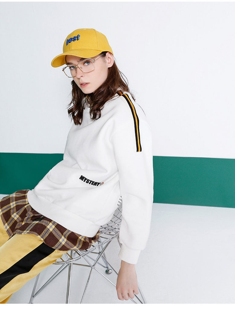 2019 Autumn Women Fleece Sweatshirt Casual Striped Tracksuits - Nikkiaz