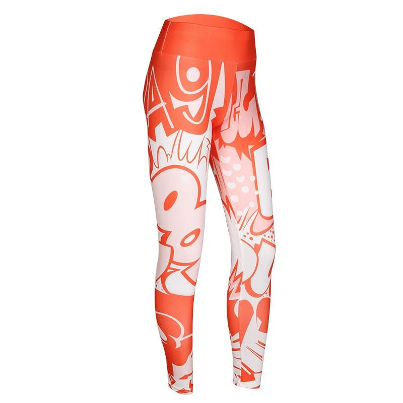 High Waist Cartoon Workout Pants - Nikkiaz