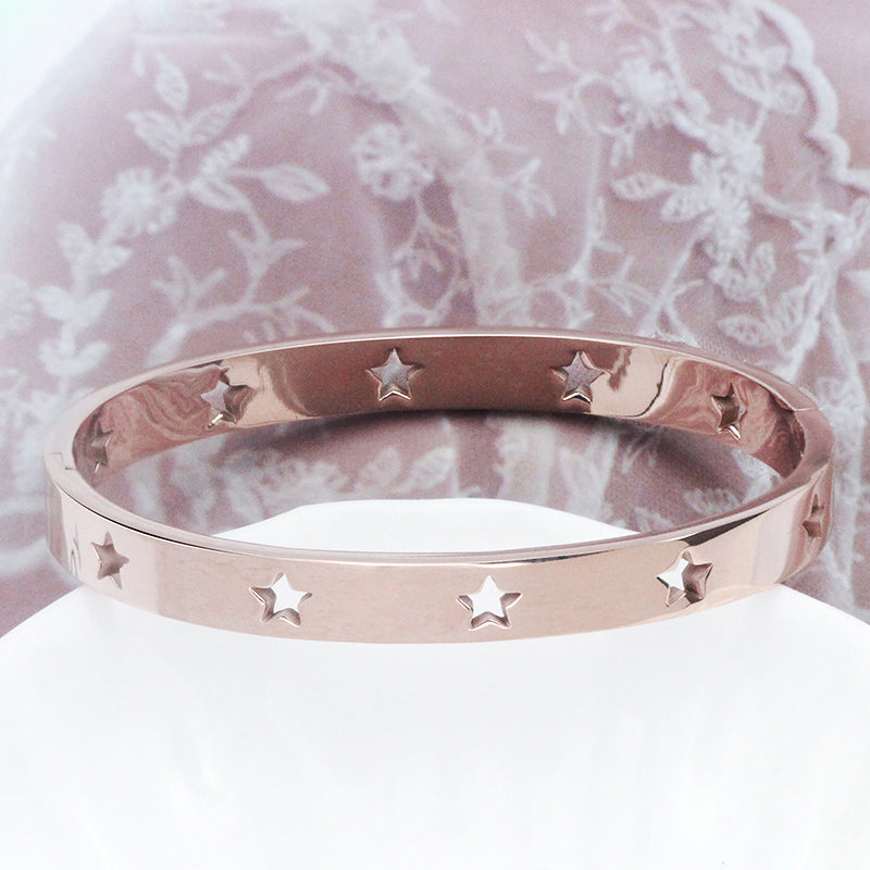 KNERS Stainless Steel Stars Bracelet Bangle Women Ladies Bracelets & Bangles in Silver Color Rose Gold Fashion Jewelry