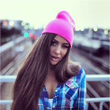 Hat Female Unisex Cotton Blends Solid Warm Soft HIP HOP Knitted Hats - Nikkiaz