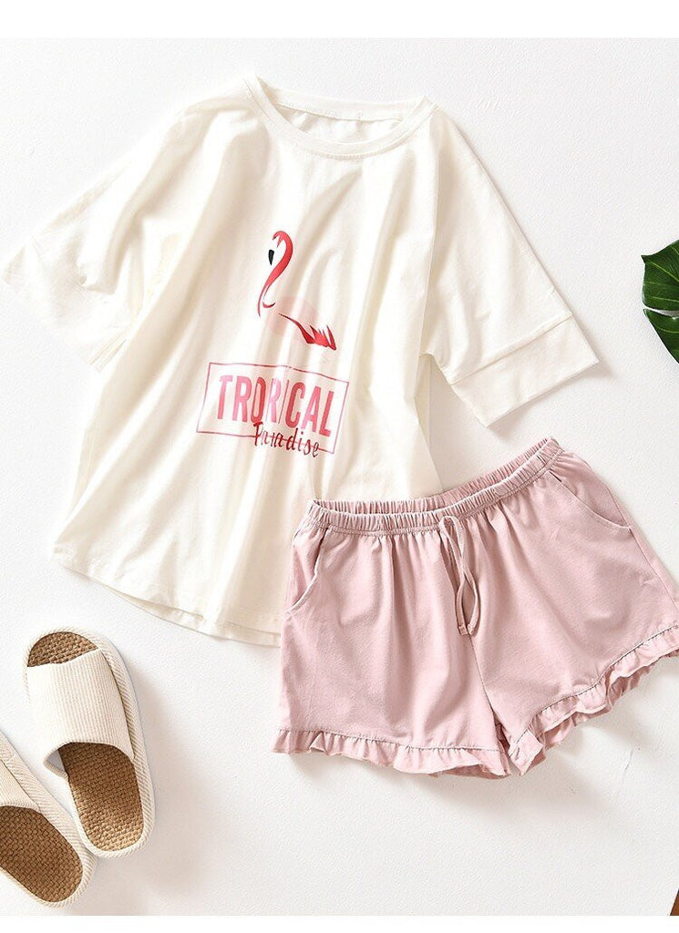 Flamingos Cotton Pajama Set - Nikkiaz
