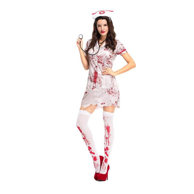 Bloody Zombie Hacker Nurse Halloween Costume - Nikkiaz