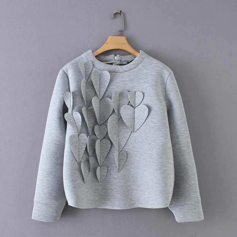 Hearts Appliques Zip-up Sweatshirts - Nikkiaz